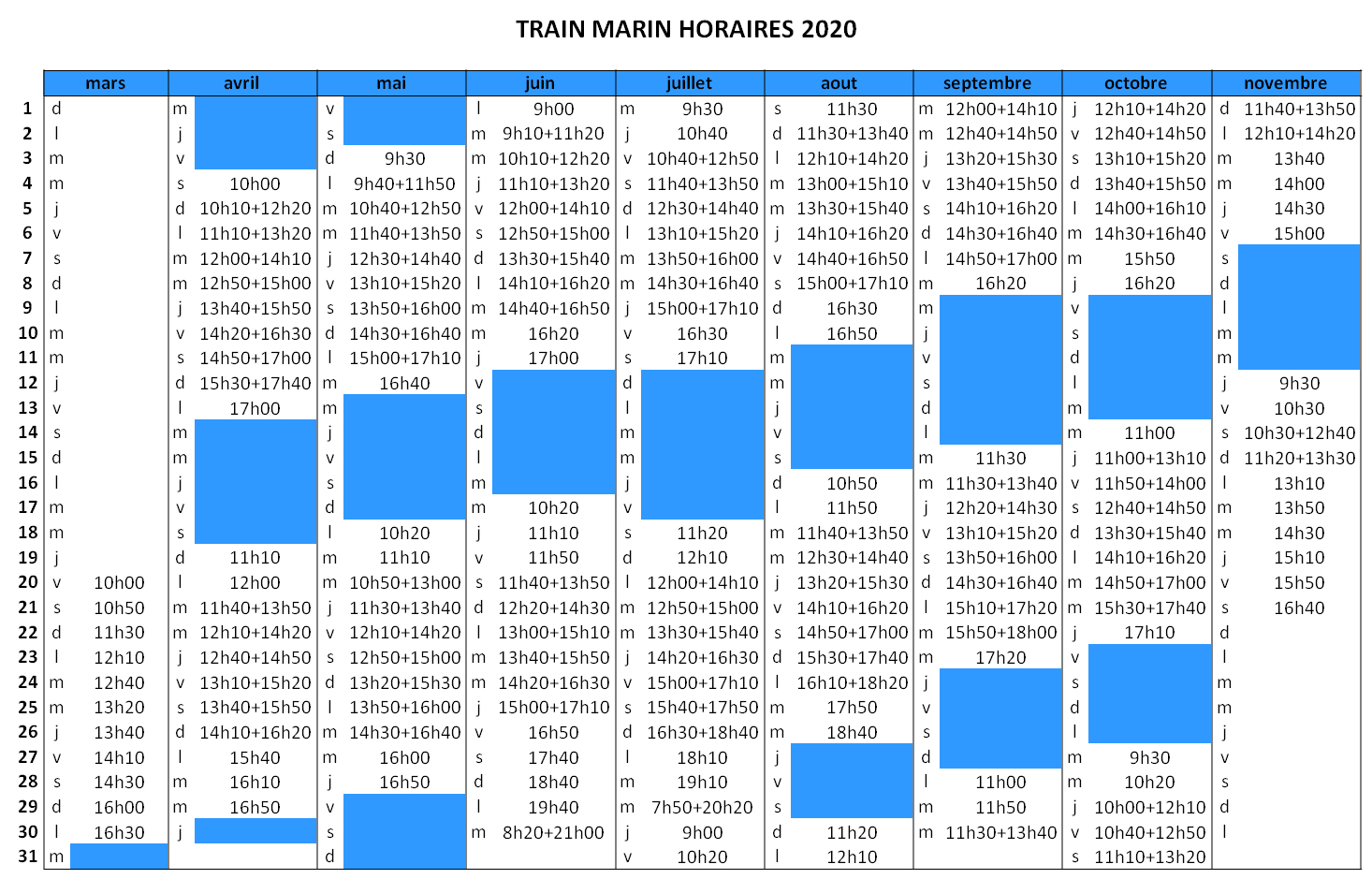 Departure times 2020